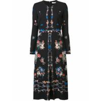 Vilshenko Vestido De Seda Com Estampa Floral - Preto