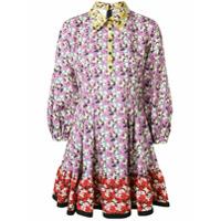 Valentino Vestido Com Estampa Floral - Roxo