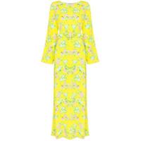 Bernadette Vestido Longo Monica Com Estampa Floral - Amarelo
