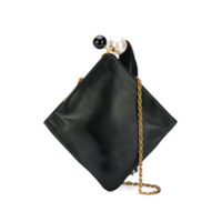 Rodo Pearl Detail Clutch Bag - Preto