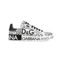 Dolce & Gabbana Tênis De Couro Com Estampa De Logo - Branco