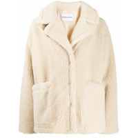 Stand Oversized Teddy Bear Jacket - Branco