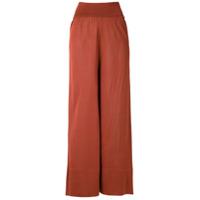 Egrey Calça Pantalona Transparente De Tricô - Vermelho