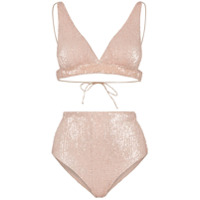 Oseree Marylin Sequin Embellished High Waist Bikini - Neutro