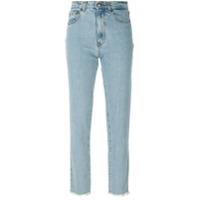Magda Butrym Calça Jeans Reta Com Acabamento Desfiado - Azul