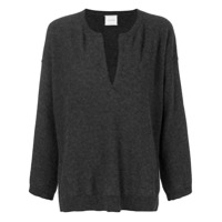 Fine Edge V-Neck Sweater - Cinza