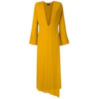 Osklen Vestido Longo Ouro Decote Profundo - Amarelo