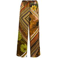 Seventy Calça Pantalona Floral - Marrom