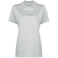 Moncler Camiseta De Algodão Com Logo - Cinza