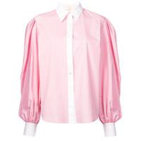 Sara Battaglia Camisa De Seda Com Mangas Volumosas - Rosa