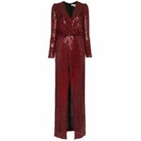 Galvan Vera Sequin And Silk Maxi Dress - Vermelho