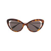 Alexander Mcqueen Eyewear Óculos De Sol Gatinho - Marrom