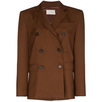 Lvir Double-Breasted Blazer Jacket - Marrom