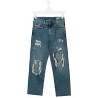 Diesel Kids Calça jeans slim destroyed - Azul
