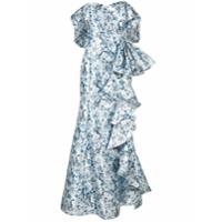 Badgley Mischka Vestido De Festa Ombro A Ombro Com Babados - Azul