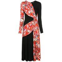 Prabal Gurung Vestido Com Contraste Floral - Vermelho