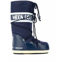 Moon Boot Bota Com Logo E Cordão - Azul