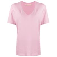 Raquel Allegra Camiseta Oversized Com Gola V - Rosa