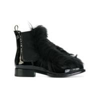 Car Shoe Ankle Boot De Couro Envernizado - Preto