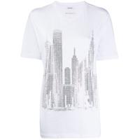 P.a.r.o.s.h. Crystal Embellished City T-Shirt - Branco