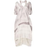 Masnada Vestido Gola V De Seda Com Estampa - Cinza