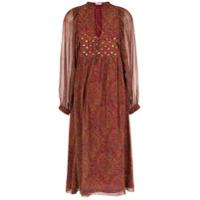 Nk Vestido Midi Mangas Longas Estampado - Vermelho