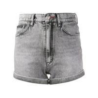 Philipp Plein Short Jeans Cintura Alta Hot Pants - Cinza