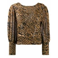 Ganni Blusa Com Estampa De Tigre - Marrom