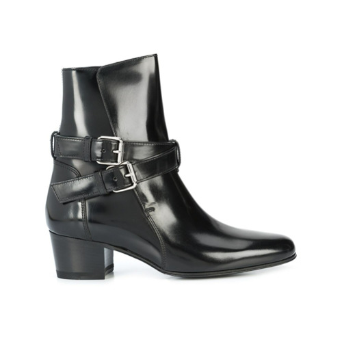 Imagem de Amiri Ankle boot de couro com fivelas - Preto