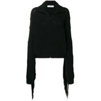 Almaz Fringed Sleeve Zipped Cardigan - Preto