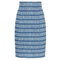 Balmain Saia Jeans Com Logo - Azul