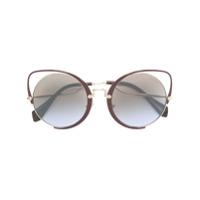 Miu Miu Eyewear Óculos De Sol Gatinho Oversized - Marrom
