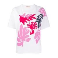 Marni Camiseta Branca De Algodão Com Estampa De Folhas - Branco