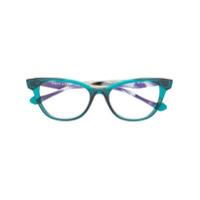 Face À Face Armação De Óculos Gatinho Com Contraste - Verde