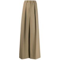 Ami Paris Calça Pantalona Com Pregas - Neutro