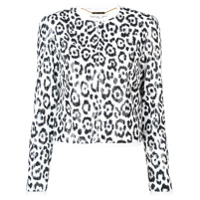 Rachel Zoe Jaqueta Cropped Animal Print - Branco