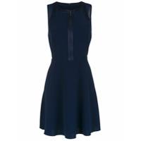 Armani Exchange Vestido Acinturado Com Zíper - Azul
