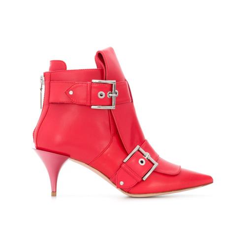 Imagem de Alexander McQueen Ankle boot de couro com fivelas - Vermelho