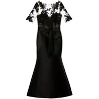 Badgley Mischka Vestido De Festa Com Recortes Translúcidos - Preto
