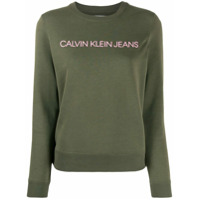 Calvin Klein Jeans Moletom Com Estampa De Logo - Verde