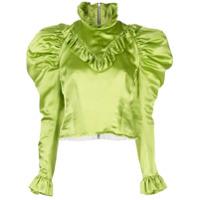 Dilara Findikoglu Blusa De Cetim Com Babados - Verde