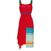 I-Am-Chen Vestido Midi Com Tiras - Vermelho