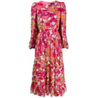 Saloni Vestido Longo Com Estampa Floral - Rosa