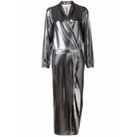 Michelle Mason Vestido Metalizado Com Transpasse - Metálico