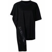 Juun.j Camiseta Assimétrica Synthesize Com Drapeado - Preto