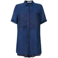 Gentry Portofino Camisa De Seda E Linho Mangas Curtas - Azul