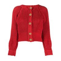 Maison Flaneur Chunky Knit Cardigan - Vermelho