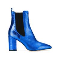 Paris Texas Ankle Boot Bico Fino De Couro - Azul