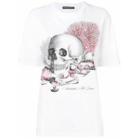 Alexander Mcqueen Camiseta Coral Skull - Branco