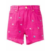 Tommy Jeans Short Jeans Com Bordado - Rosa